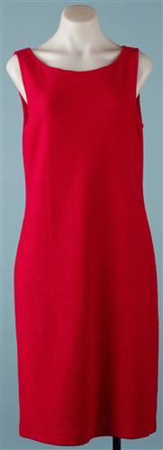 Sale 9090F - Lot 14 - A ST. JOHN SCOOP-NECK STRAIGHT SHEATH DRESS; hot fuchia pink boucle fabric, size 10.