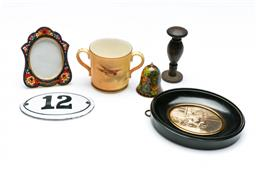 Sale 9098 - Lot 475 - Various Enamel Miniatures and Others inc Micro Mosaic Frame and Royal Worcester Love Cup