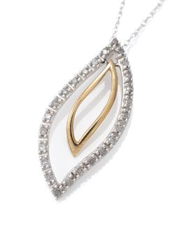 Sale 9124 - Lot 489 - A 10CT TWO TONE GOLD PENDANT NECKLACE; 30 x 15mm white gold open leaf shape pendant set with 26 single cut diamonds inserted with an...