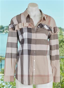 Sale 9120K - Lot 39 - A Burberry London cotton checkered button up top; with ruffled details, size UK 10
