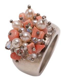 Sale 9209J - Lot 320 - A SILVER PEARL AND STONE SET RING; 16mm wide tapering band adorned with cultured freshwater pearls, tumbled corals and quartz, size...