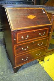 Sale 8093 - Lot 1804 - Mahogany & Cross Banded Bureau Fitted with an Oak Interior