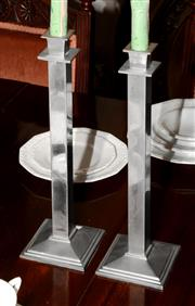 Sale 8107B - Lot 61 - A Pair of Art Deco Style Candlesticks