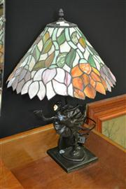 Sale 8156 - Lot 1005 - Leadlight Shade Table Lamp with Figural Base