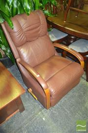 Sale 8227 - Lot 1060 - Timber and Leather Recliner