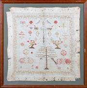 Sale 8444A - Lot 86 - A Victorian needlework sampler in frame, dimensions including framing 74 x 74cm