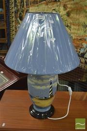Sale 8409 - Lot 1693 - Pair of Belgian Hand Painted Lighthouse Lamps (3417)