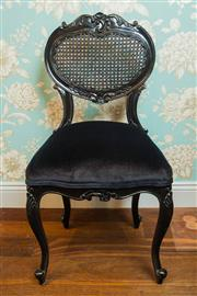 Sale 8448A - Lot 93 - French provincial style black painted boudoir chair featuring rattan heart shaped backrest, black velvet coil sprung upholstered sea...