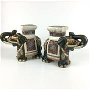 Sale 8545N - Lot 195 - Pair of Chinese Glazed Ceramic Elephants (H: 28cm)