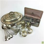 Sale 8648A - Lot 200 - English Hallmarked Sterling Silver Napkin Rings with Silver Plated Examples & Cutlery