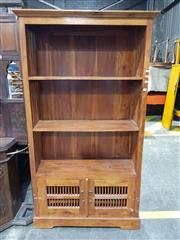 Sale 8740 - Lot 1705 - Timber Open Bookshelf with Two Doors to Base