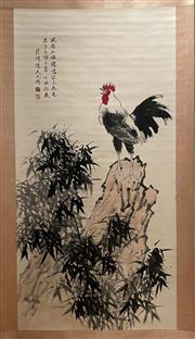 Sale 8951S - Lot 9 - Chinese Scroll of Rooster atop a Rock, Ink and Colour on Paper