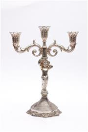 Sale 9023 - Lot 19 - A Silver Plated Cherub Themed 3 Branch Candleholder (H: 33cm)