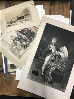 Sale 9118 - Lot 2086 - Group of Assorted antique engravings and prints incl. George Baxter, A Fullwood, Fred Scholl, George Joy (signed)