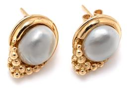 Sale 9253J - Lot 514 - A PAIR OF 18CT GOLD KESHI PEARL EARRINGS; each set with an approx. 9 x 8mm cultured keshi pearl in a pear shape mount, size 15.5 x 1...