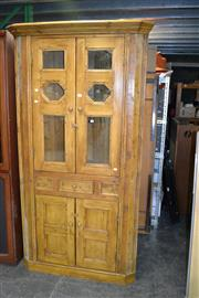 Sale 7987A - Lot 1183 - Antique Style Pine Corner Cabinet with 2 Glass Panel Doors above a Drawers & 2 Panel Doors