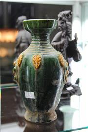 Sale 8100 - Lot 25 - Tang Green & Straw Glazed Vase