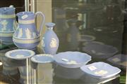 Sale 8256 - Lot 9 - Wedgwood Jasper Ware Ewer with Others incl a Scalloped Bowl
