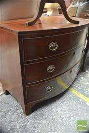 Sale 8317 - Lot 1085 - Late George III Mahogany Bow Front Chest of Three Drawers, with brass handles & bracket feet (top with marks, one bracket foot with...