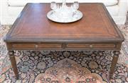 Sale 8341A - Lot 65 - A superb quality mahogany coffee table with inset leather top, four oak lined drawers to the frieze in the George III manner, H 50 x...