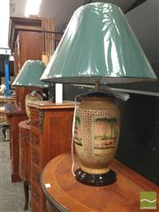 Sale 8412 - Lot 1004 - Pair of Italian Hand Painted Lamps (3476)