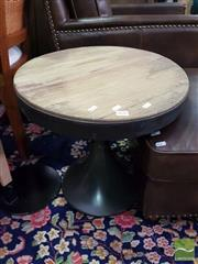 Sale 8554 - Lot 1035 - Rustic Timber Top Side Table on Metal Base (H 52 x D 52cm)