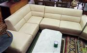 Sale 8566 - Lot 1367 - L-Shaped Cream Leather Lounge