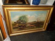 Sale 8682 - Lot 2082 - Artist Unknown - Pastoral Scene, oil on canvas, 57 x 82cm (frame size), unsigned