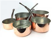 Sale 8728 - Lot 1064 - Set of 5 French Copper Saucepans, diameter: 20cm (largest)