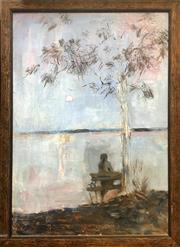 Sale 8753 - Lot 2058 - Joy Bye - Evening oil on canvas, 87.5 x 64cm.