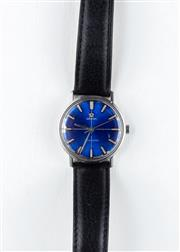Sale 8770 - Lot 82 - A Vintage Omega Seamaster Wristwatch; in stainless steel with blue dial (some damage around edges), centre seconds, manual movement,...