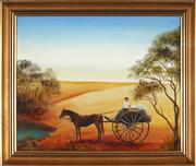 Sale 8895 - Lot 2007 - Sue Nagel - Daisy Bates Driving the Coachoil on board, 48 x 58 cm, signed lower left