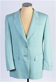 Sale 8926H - Lot 63 - A pure wool BASLER suit jacket in blue agave with oversized gilt buttons, approx size 14