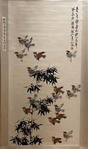 Sale 8951S - Lot 10 - Chinese Scroll of Birds and Bamboo, Ink and Colour on Paper