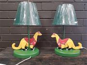 Sale 8959 - Lot 1050 - Pair of Wooden Dino Childrens Lamps - 3212 (H: 44cm)
