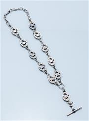 Sale 9037F - Lot 53 - AN ANTIQUE STERLING SILVER ALBERT CHAIN; 19 x 15mm oval pierced engraved heart links to t-bar and swivel clasp, length 50cm, wt. 59....