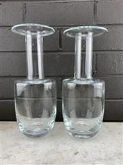 Sale 9039 - Lot 1052 - Pair of Polish Glass Gulvase Vases after Otto Brauer, signed to base and original label (h:27cm)