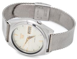Sale 9149 - Lot 520 - A VINTAGE SEIKO 5 AUTOMATIC WRISTWATCH; ref; 7009-876A in stainless steel, matte dial with diagonal zoning, center seconds, day date...