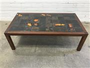 Sale 9092 - Lot 1051 - Vintage tile top coffee table with glazed finish (h:38 x w:144 x d:62cm)