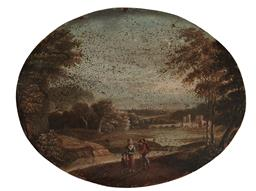 Sale 9106 - Lot 2045 - English School C18th - Travelling Family, on copper, 16 x 21 cm