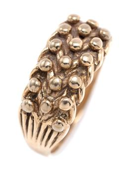 Sale 9194 - Lot 385 - AN ANTIQUE STYLE 9CT GOLD KEEPER RING; knot design hallmarked DJ London 1993, width 8.75mm, size Q, wt.4.22g.