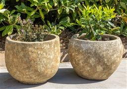 Sale 9248H - Lot 258 - A pair of stoneware glazed planters one planted with Lavender diameter 37cm
