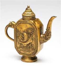 Sale 9253 - Lot 137 - A gilt cast metal Chinese teapot featuring koi scene to body (H:18cm)