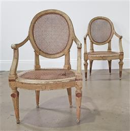 Sale 9255 - Lot 1292 - Pair of Louis XVI style armchairs with rattan seats (some faults to one chair  h:94 x w:55 x d:47cm)