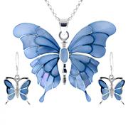Sale 7982B - Lot 162 - Silver earrings and pendant on chain featuring blue mother of pearl inlaid butterfly