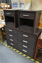 Sale 8013 - Lot 1050 - Modern Bedroom Setting Inc Chest of Eight Drawers and Matching Single Drawer Bedsides