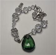 Sale 8036A - Lot 336 - A SWAROVKI PENDANT NECKLACE; faceted white beads with green bead drop.