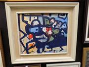 Sale 8429A - Lot 2009 - Artist Unknown, The Blue Vase, oil on canvas board, 49 x 59cm, signed lower right