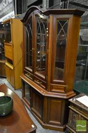 Sale 8499 - Lot 1594 - Timber Bookcase with Two Glass Panel Doors Above Two Drawers & Doors (2 x Keys in Office)
