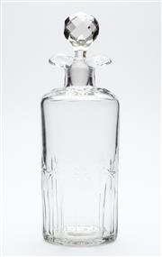 Sale 8599A - Lot 61 - An antique hand cut lead crystal decanter with double lip c. 1910, H 26cm